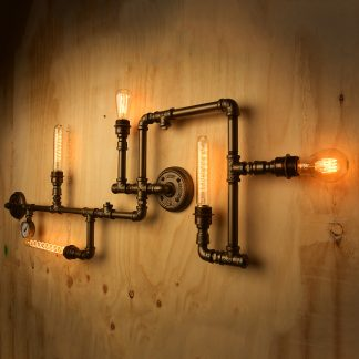 5 bulb wall plumbing pipe light painted brass