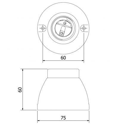 Porcelain Batten Holder Edison E27 Fitting dimensions