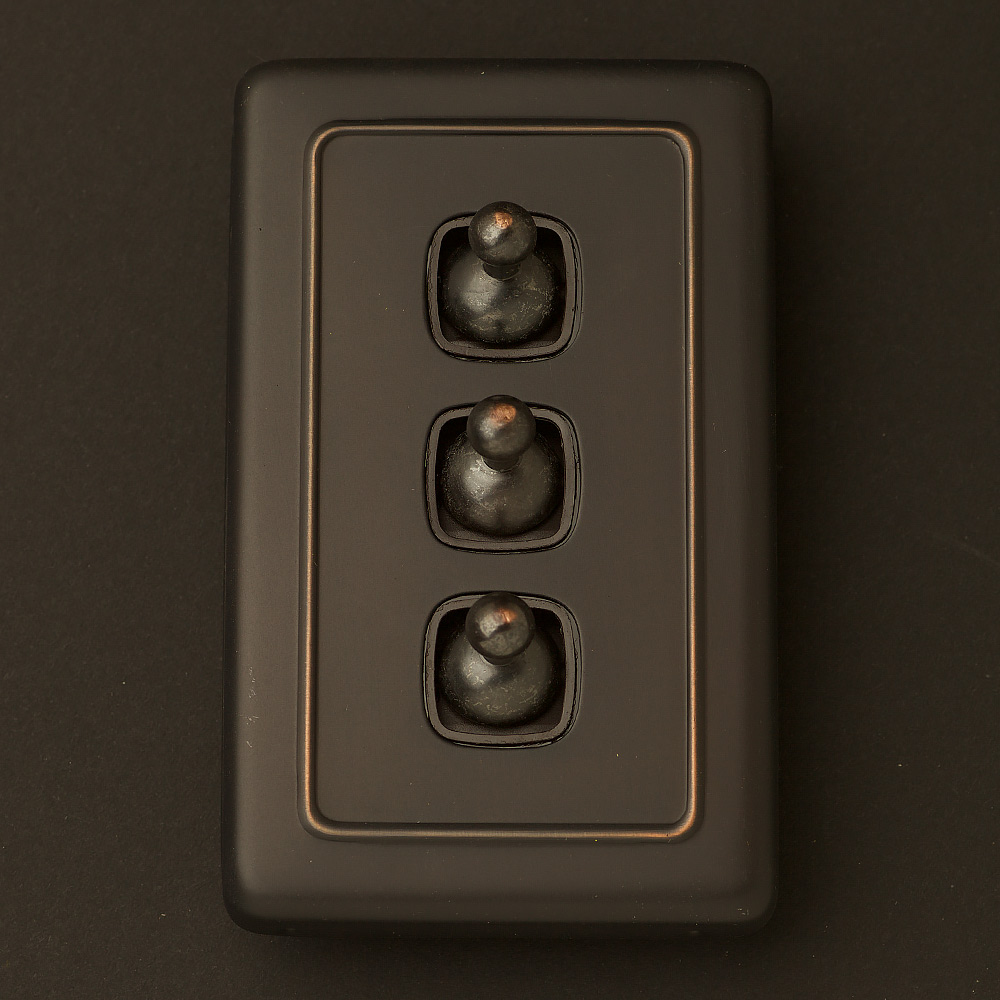 Traditional Antique Copper Large Plate Double Rocker Switch