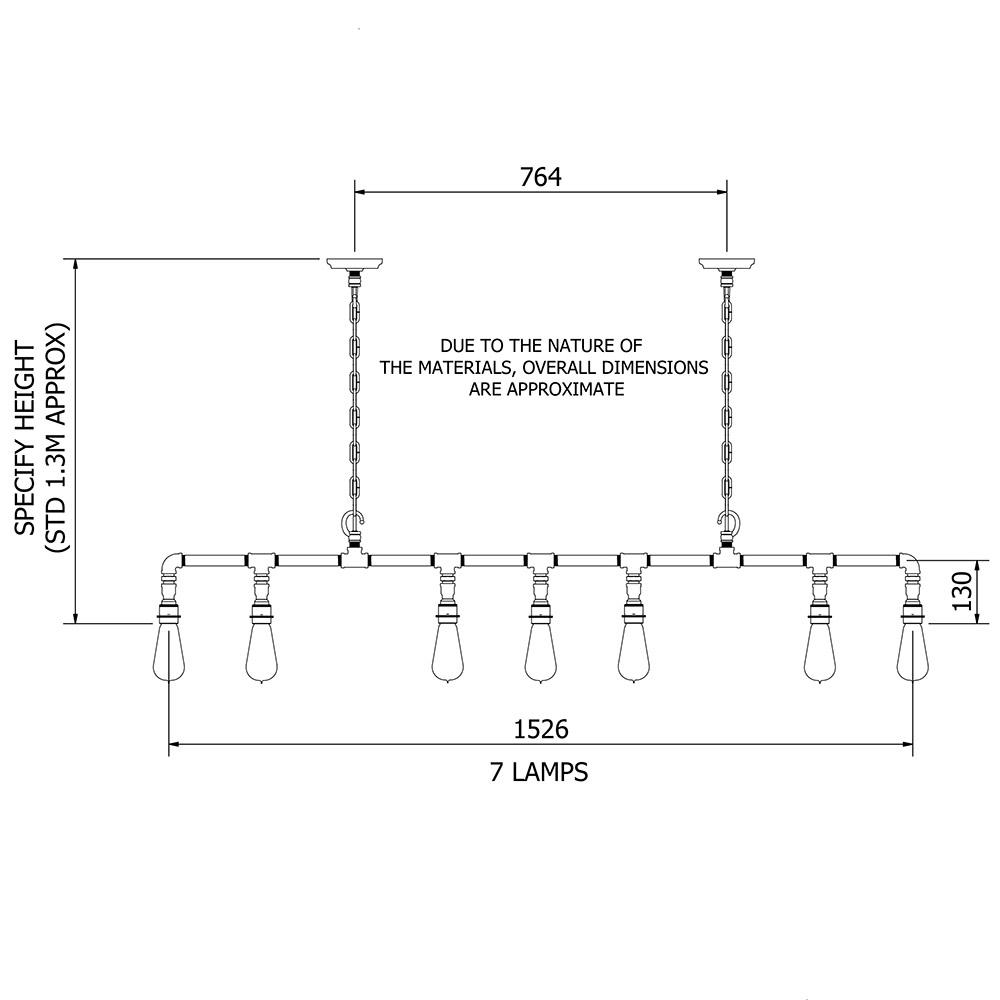 Vintage Galvanised Plumbing Pipe Chained Chandelier Dimmer Wiring Diagram