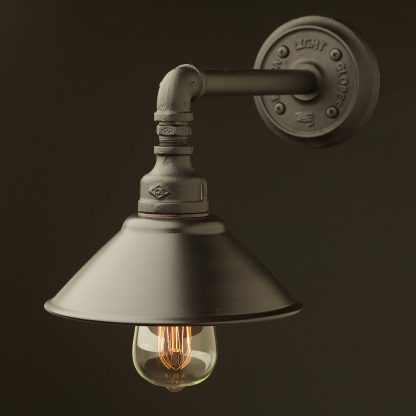 Black Shade Straight Arm Wall Light