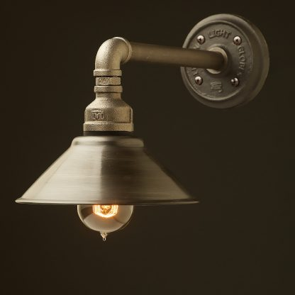 Small Shade Straight Arm Wall Light black steel antiqued shade