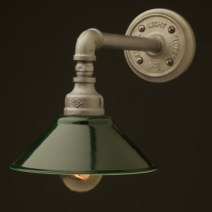 Small Shade Straight Arm Wall Light dark green shade