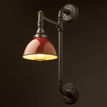 black-twin-mount-plumbing-pipe-wall-light-red-dome