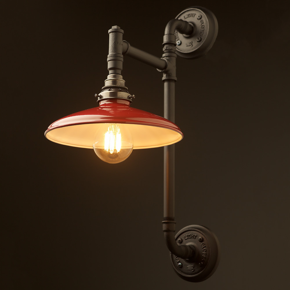Wall Mount Lamp With Shade : Twin Wall Mount Pipe Light Shade