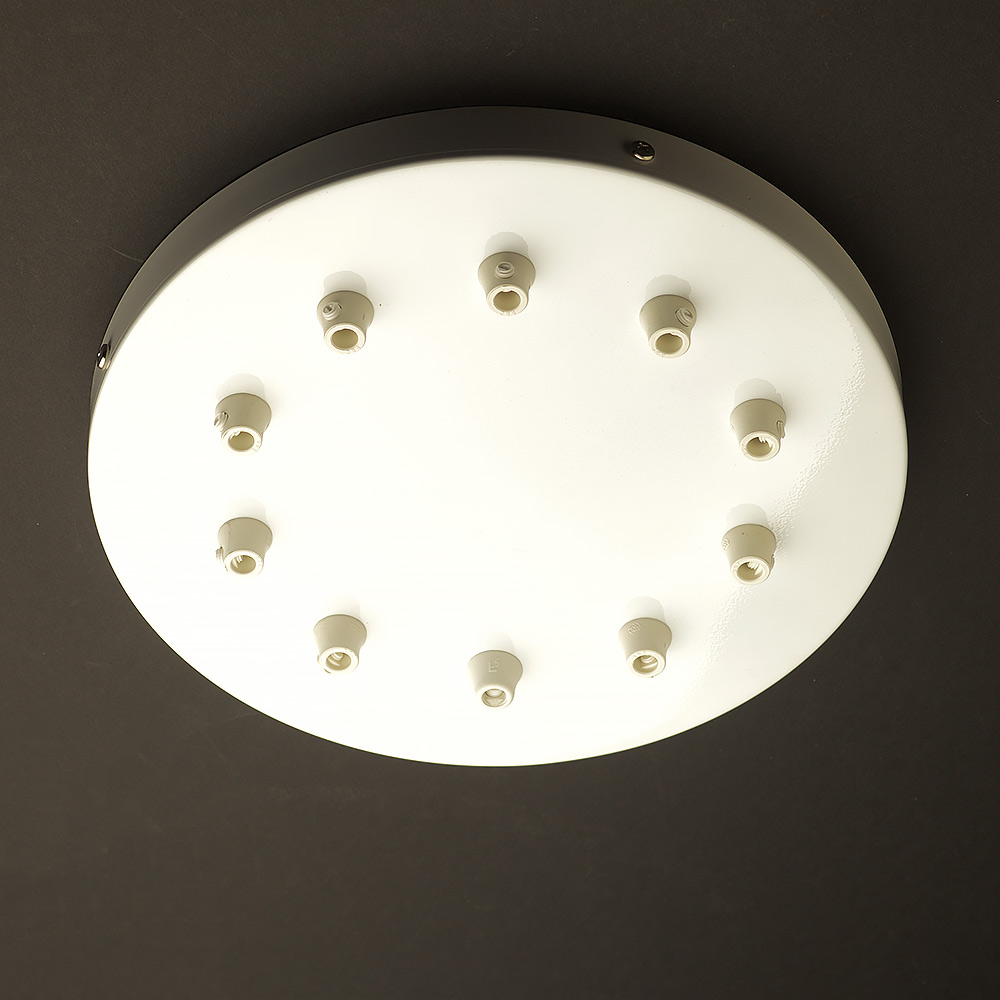 Getting To Grips With Ceiling Lighting: 260mm Black Or White Multiple Drop Cord Grip Ceiling Plate