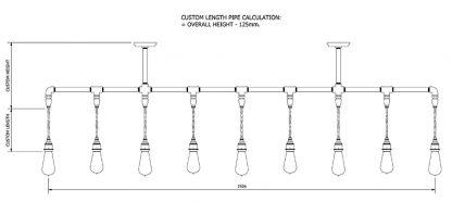 Vintage Galvanised Plumbing Pipe Chandelier Pendant