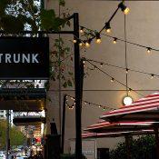 Outdoor festoon lighting at Trunk Diner