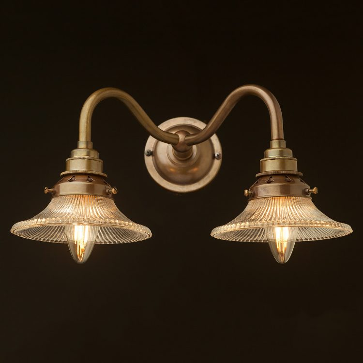 Brass Twin Holophane Small Shade Wall Light