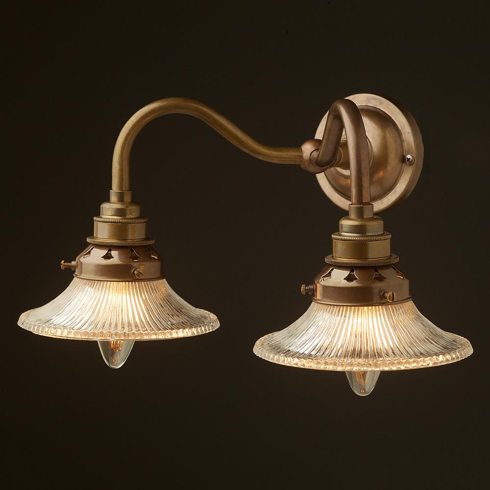 Brass Twin Holophane Small Shade Wall Light • Edison Light Globes ...