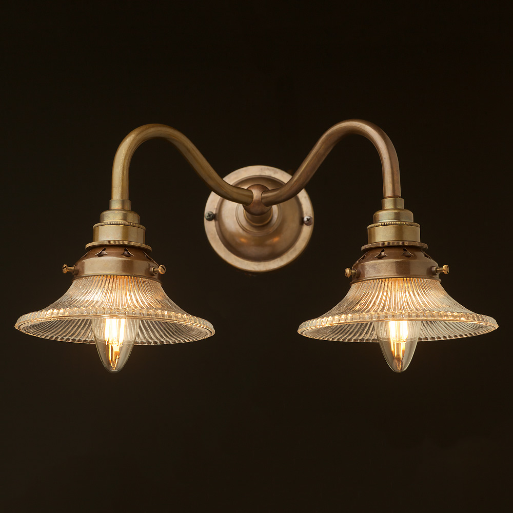 Small Brass Wall Lamps : Brass twin holophane small shade wall light