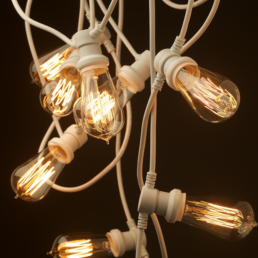 Edison Type String Lights : Vintage white Edison 20 Bulb Party Lighting 240V