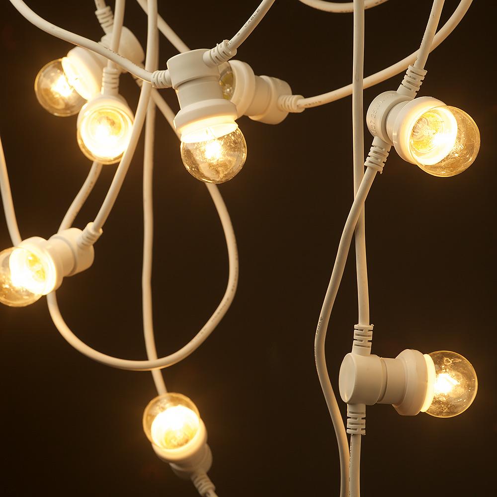 White String Party Lights : Vintage white Edison 20 Bulb Party Lighting 240V
