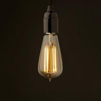 edison style light bulb and standard bakelite fitting bare bulb lighting