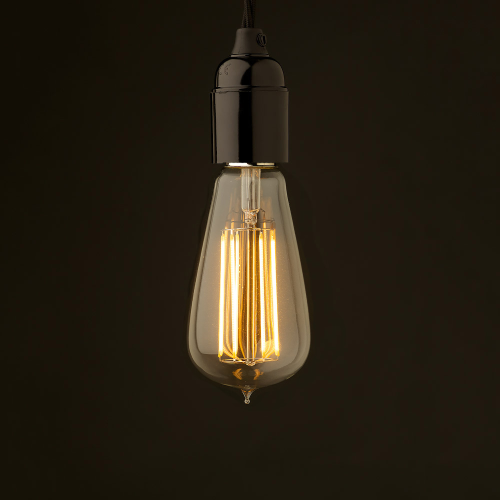 edison style light bulb and standard bakelite fitting
