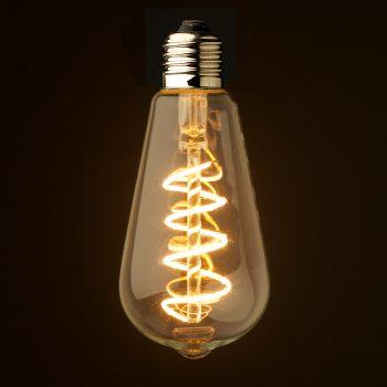 3 watt dimmable spiral filament led e27 clear edison