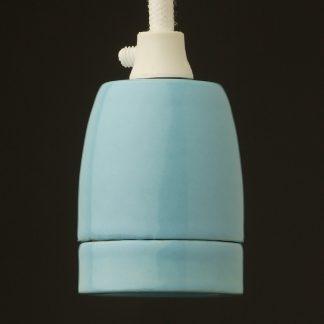 Blue Fine Porcelain E27 pendant lampholder