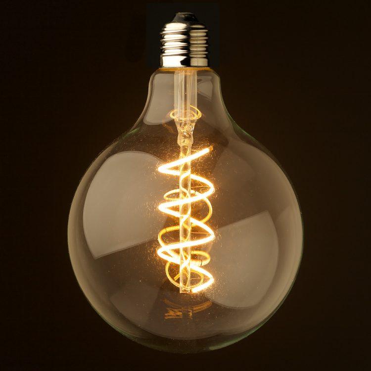 4 watt dimmable spiral filament led e27 clear 125mm. Black Bedroom Furniture Sets. Home Design Ideas