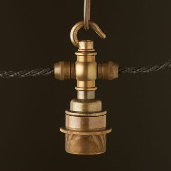 Brass hook E27 festoon lampholder