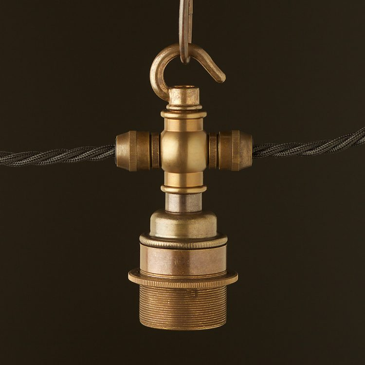 Brass hook E27 festoon lampholder