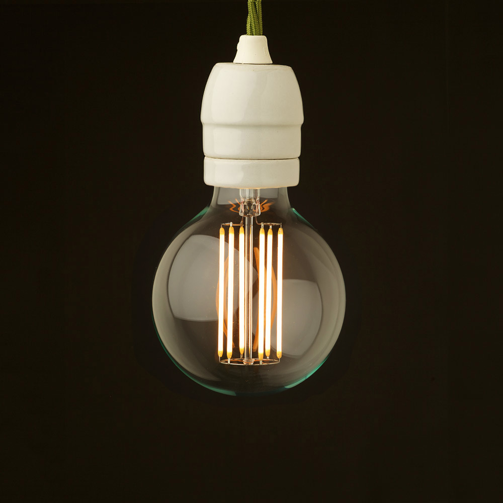 edison style light bulb and e27 white porcelain fitting