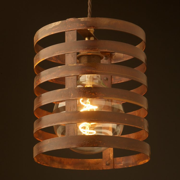 Hand made industrial shed bulb guard pendant