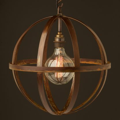 Hand made industrial spherical bulb guard pendant rusty with G125 vintage
