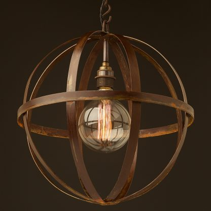 Hand made industrial spherical bulb guard pendant