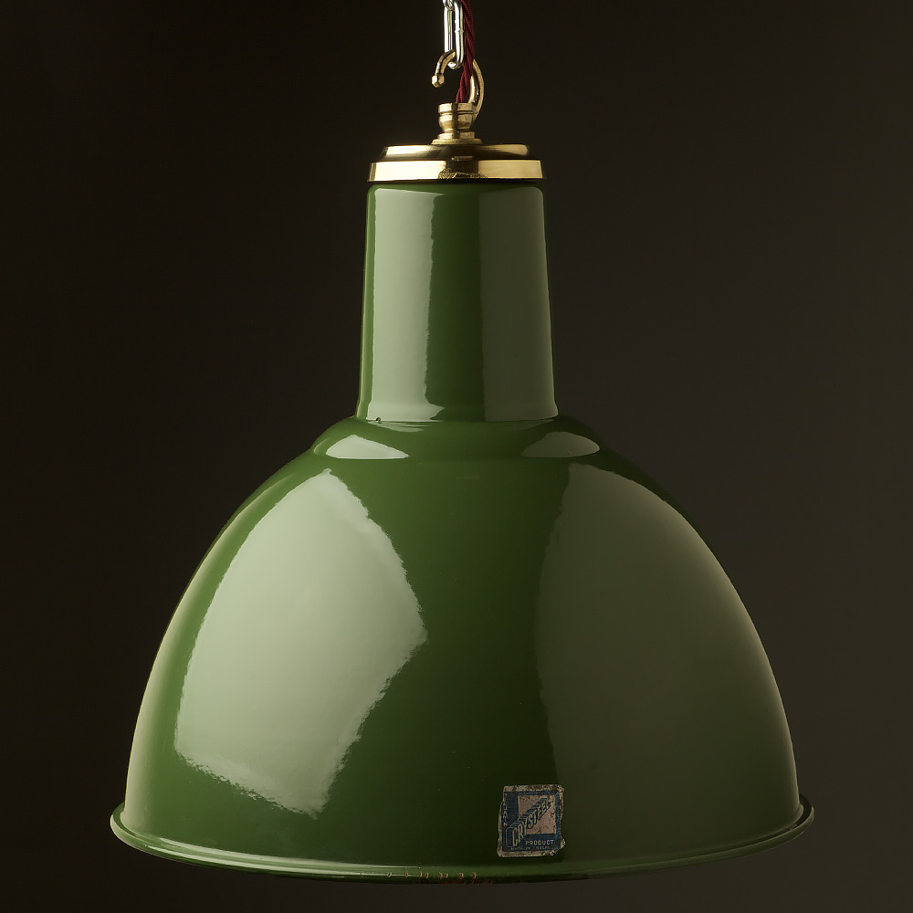 450mm Vintage Green Enamel Domed Factory Shade