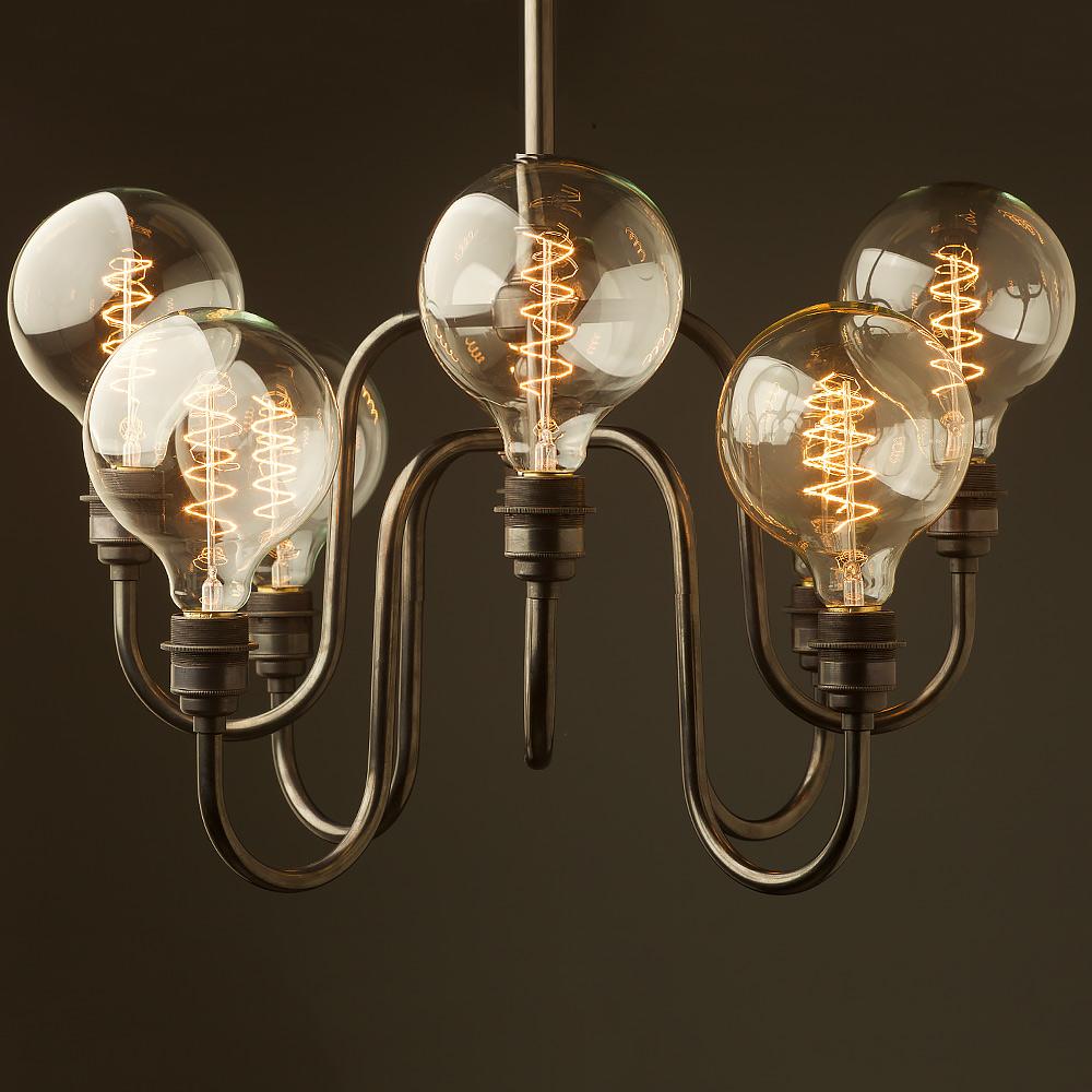 8 bulb holophane shade chandelier