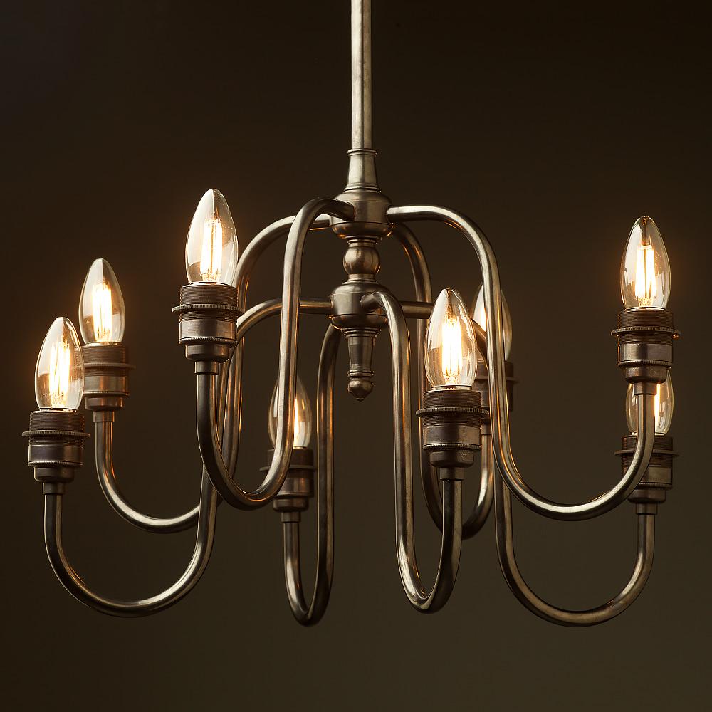 Chandelier With Edison Bulbs: 8 Bulb Holophane Shade Chandelier