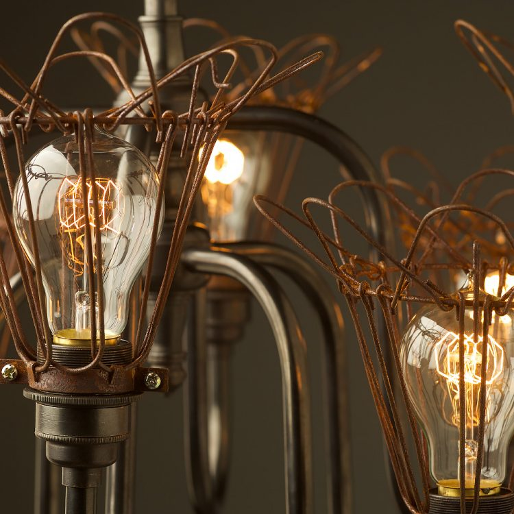 8 bulb trouble light cage chandelier