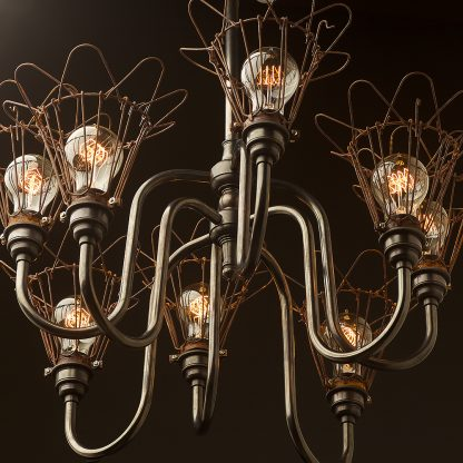 8 bulb trouble light cage chandelier