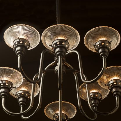 8 bulb brass chandelier bronze side small holophane