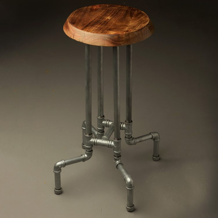 Industrial cast iron adjustable height bar stool : Plumbing pipe tall stool 750x750 from edisonlightglobes.com size 750 x 750 jpeg 39kB