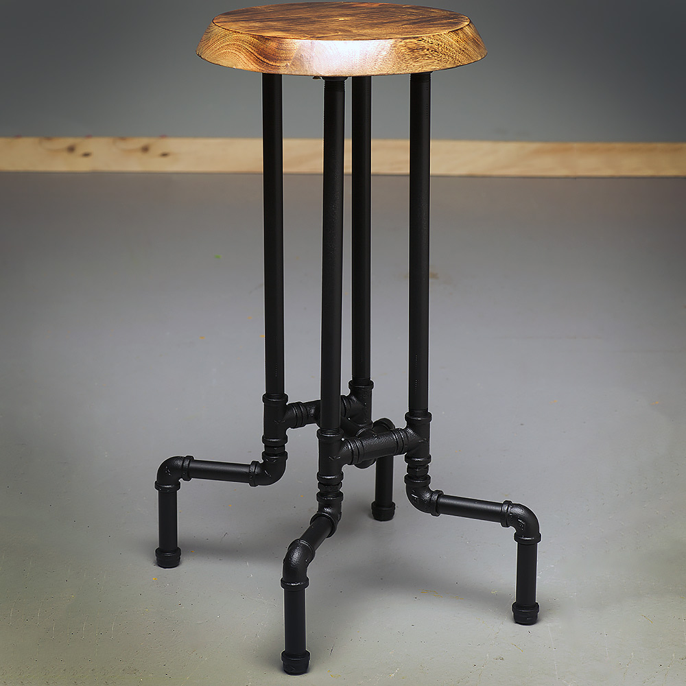 Industrial cast iron adjustable height bar stool : Plumbing pipe tall stool black painted from edisonlightglobes.com size 1000 x 1000 jpeg 180kB