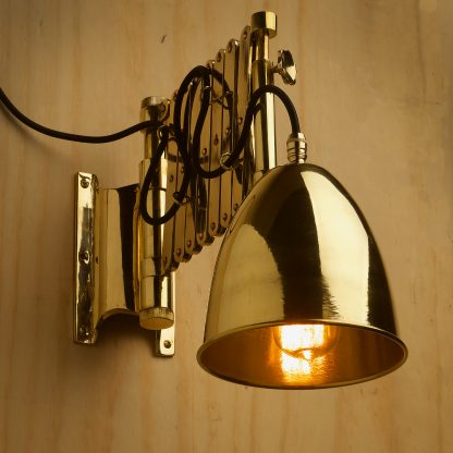 Heavy brass ships scissor wall light