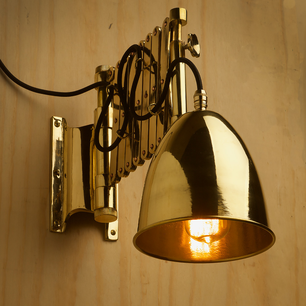 Heavy Brass Ships Scissor Wall Light Edison Light Globes