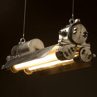 Flame proof cast aluminium vintage twin tube light wire suspension