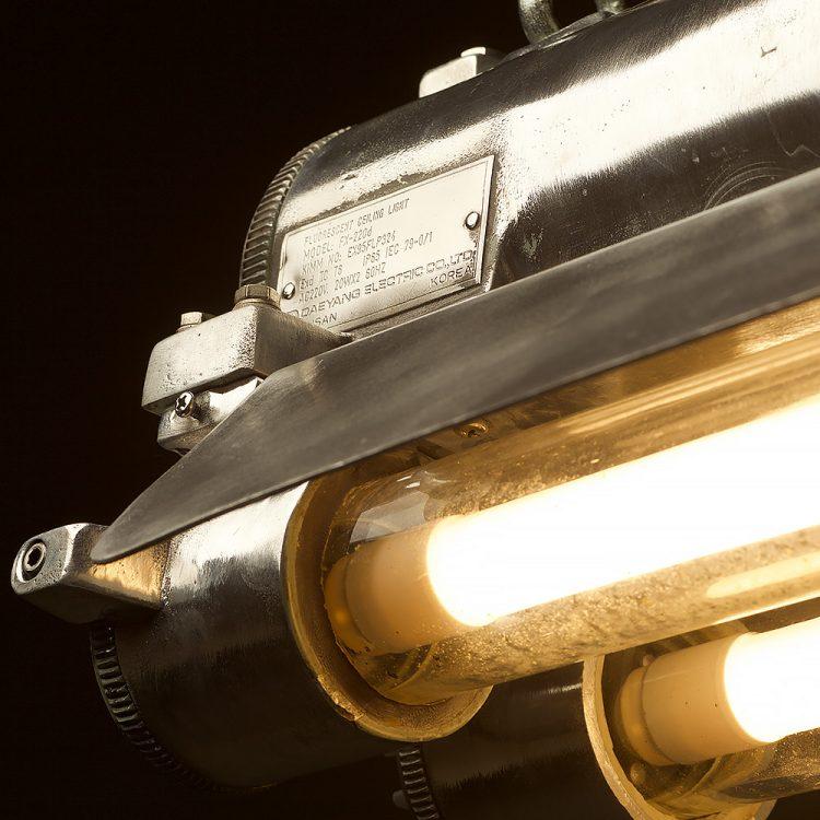 Flame proof cast aluminium vintage flouro tube light