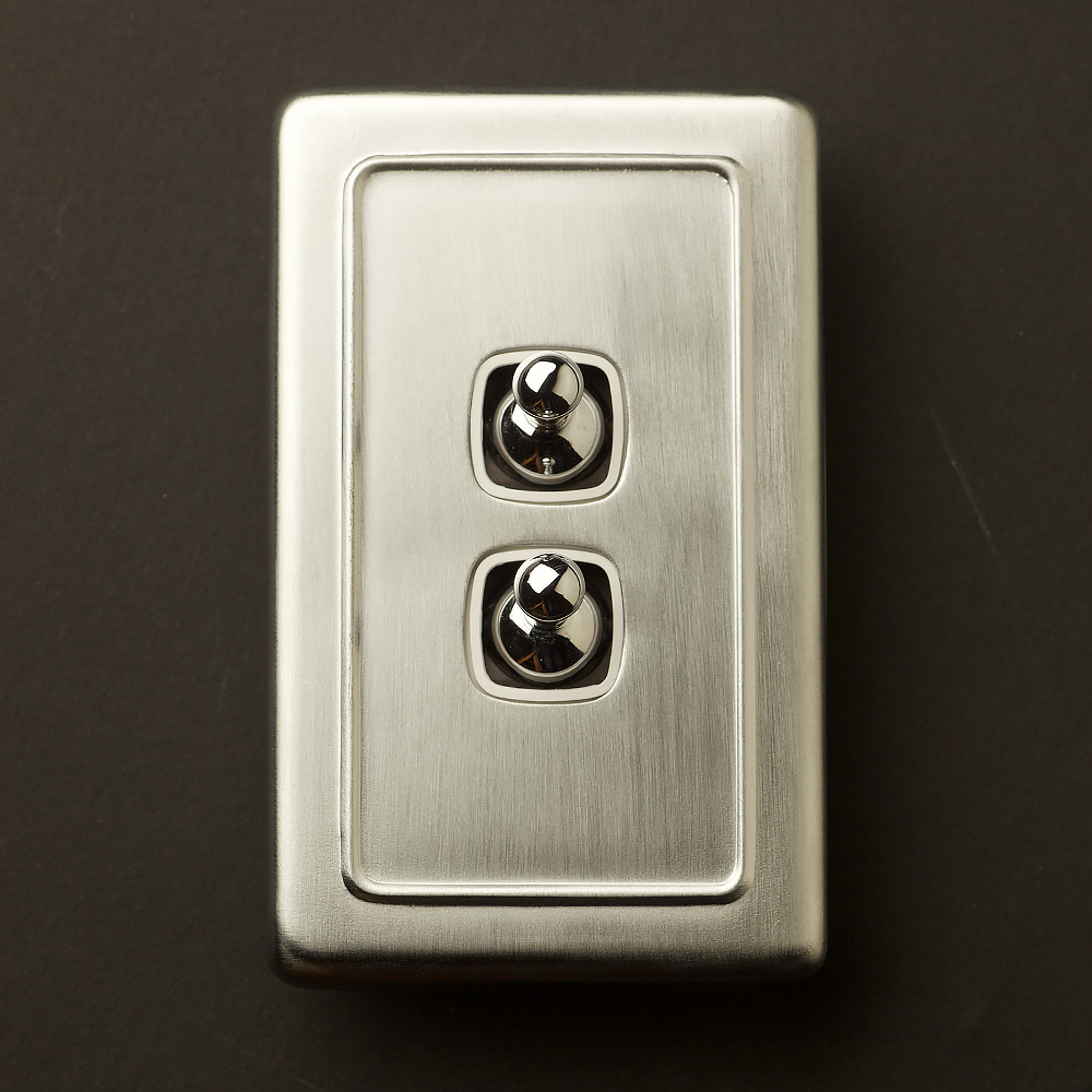 Traditional Satin Chrome Large Plate Double Rocker Switch