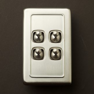 Traditional satin chrome large plate quad rocker switch