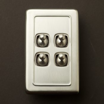 Traditional satin chrome large plate quad rocker switch