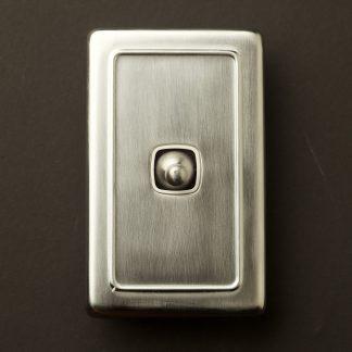 Traditional satin chrome large plate single rocker switch