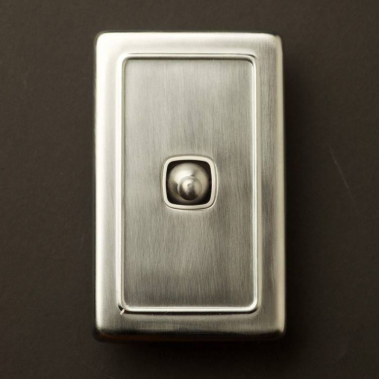 Traditional satin chrome large plate single rocker switch