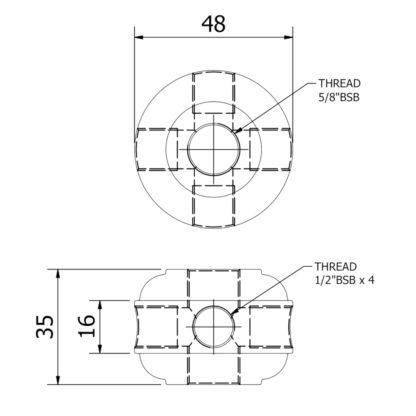 Hub 4 Way Dimensions