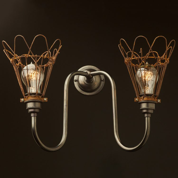 Brass twin cage doncaster bend wall light