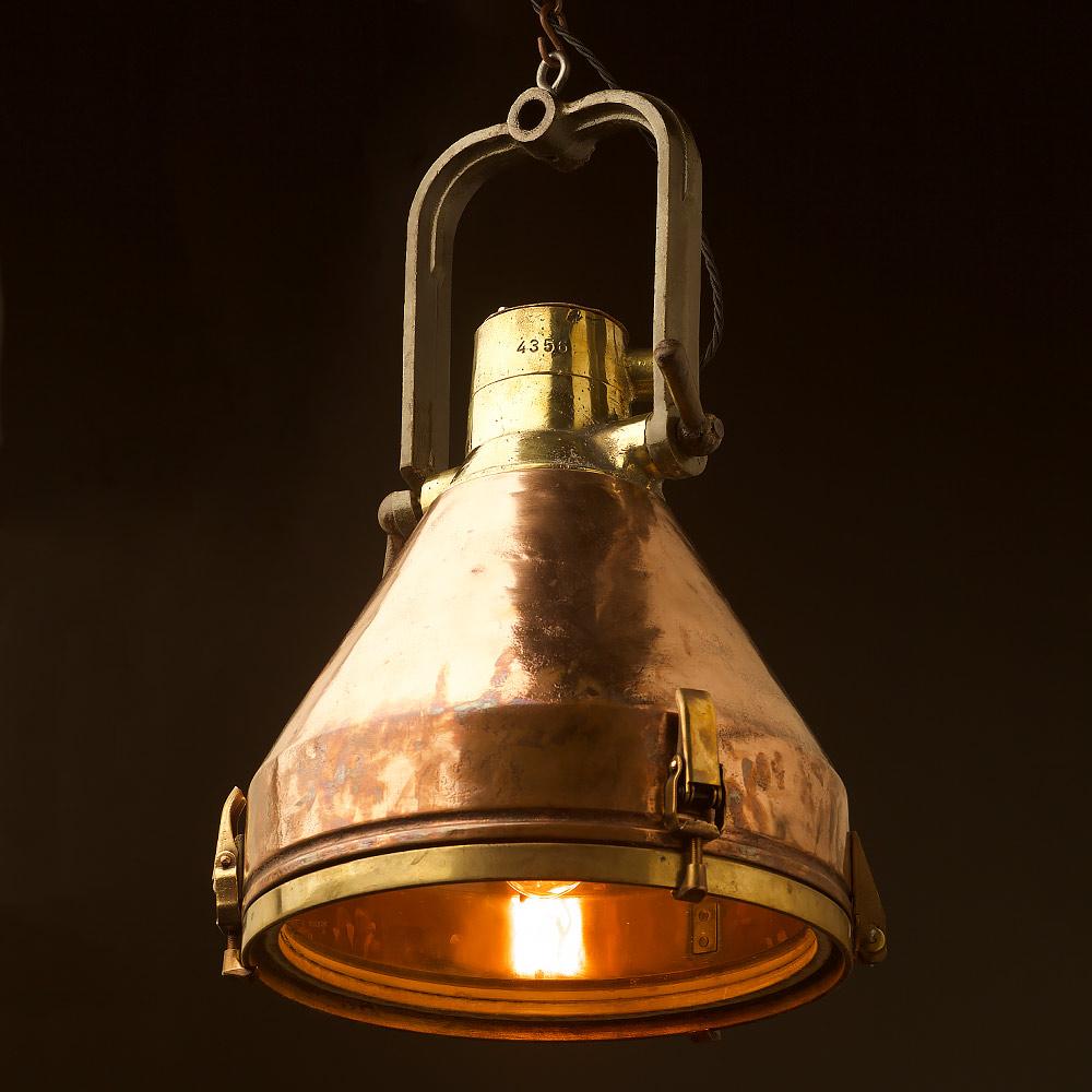 Large Vintage Conical Brass Ships Deck Light Edison