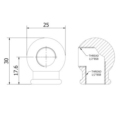 Side tapped ball coupling dimensions