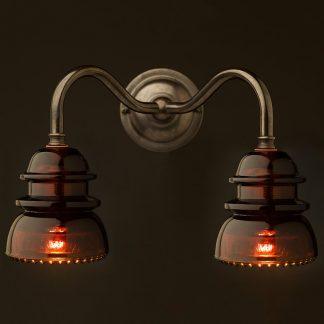Brass Twin Hemingray Insulator Wall Light Amber front